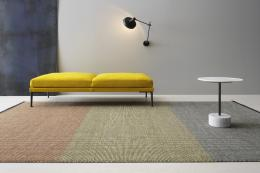 Swedish carpet maker Kasthall's new woven wool/linen chenille Othello rug comes in three sections of different colours. Lots of sizes available. POA.