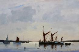 Thames Barges, first light, by Benjamin Mowll
