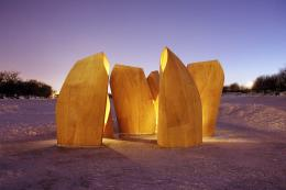 Patkau Architects made these ice skating shelters in Winnipeg from plywood