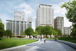 Computer generated image showing the exterior of Southbank Place