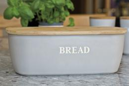 Bamboo fibre bread bin with bamboo wood top, £19.99, by Natural Elements at kitchencraft.co.uk