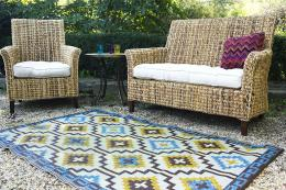 Fab Habitat's new Lhasa blue and brown recycled plastic rug - find this US brand in the UK at Wayfair.co.uk