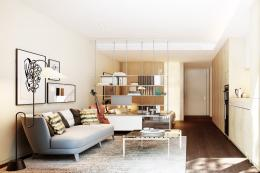 A Johnson Naylor design for the studio apartments in Casson Square. Hardwood flooring, LED lighting and lots of storage make a small space homely and comfortable