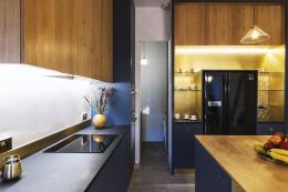 The kitchen is made from local wood