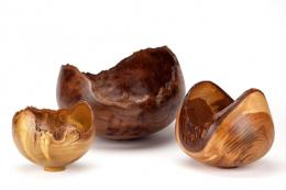 Enclosed wood vessels by Eleanor Lakelin, who works mostly with wood felled in south London. www.eleanorlakelin.co.uk