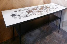 Reclamation - two tier 60s' Formica coffee tablem with hibiscus and cornflower print metal frame with wooden top, £225.00, Lassco Ropewalk. www.lassco.co.uk