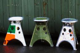 Helicopter stools with the original paint markings left on. www.aero-1946.com
