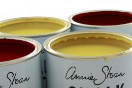 Burgundy and English Yellow paints. The paints are manufactured in the UK and the US and distributed in more than 12 countries