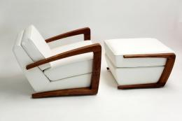 Custom armchair and ottoman by Cornwall's Bark Furniture