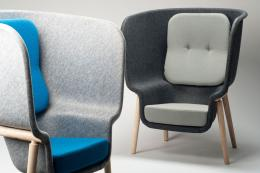Need some privacy? Pod chair, made from recycled PET felt, from £1,800 by Benjamin Hubert www.benjaminhubert.co.uk