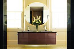 Hopwood designed this lovely wall-hung lacquered vanity unit with a slate top