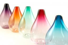 Delicately colours Drop glass vases by Rosie Sutcliffe. www.rosiesutcliffeglassware.com