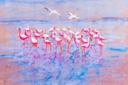Flamingos, print 30x40cm, £150. www.sarahelderart.com