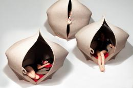 What fun.. cocooning felt Hush pods from Freyja Sewell, POA. www.freyjasewell.co.uk