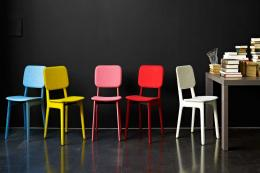 Colourful felt covered dining chairs by Ligne Roset, £576, from www.chaplins.co.uk