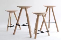Simple, sturdy, comfortable..Luco beech wood stools with iron footrests for Mobles 114