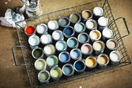 Paints from Marston & Langinger. Choose a new colour for your walls, but don't go mad with different colours in every room