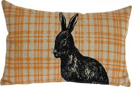 Linen silkscreen Orange Tartan Rabbit cushion, 60x30cms, by Sam Pickard. www.sampickard.co.uk