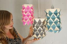 Kate Sibley with her pretty Single Fold lampshades, £60.