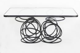 Hand made to order, striking Moon glass and steel coffee table by London sculptor Cathy Azria, www.bd-designs.co.uk. From £2,800