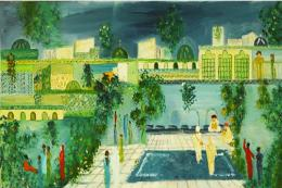 Douja Ghannam (b 1940) is known for the naive, childlike, magical quality of her imagery. Oil on canvas, 52x27cms, POA.