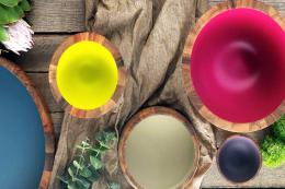 Acacia-wood bowls with recyclable plastic interior by Australian brand Ecology