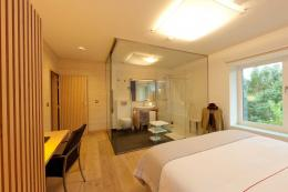 Master bedroom in the Vita house has a glass-walled en-suite bathroom...mmm..