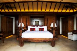 A double bedroom in the Great House. Much of the furniture is made from black bamboo