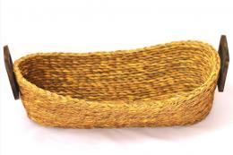 Bread basket made in West Bengal from sabai grass with wood handles. Medium £14.50