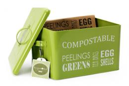 Burgon & Ball's compost tin in lime green is very nice to look at. Line with their paper bags,  £18.95