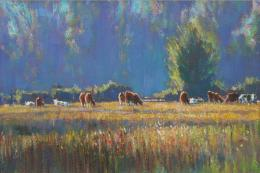 Andrew King, Summer Haze & Cattle Norfolk, 22x48 cms. £850