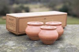 Deepti mini clay pots containing scented tea lights, £13 for 3, made in India for Dalit.co.uk to raise money for the Dalit people of India, still deemed to be untouchable