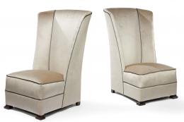 English grey velvet high backed chairs, £2,400 the pair, circa 1930s, from Le Style 25