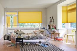 Blinds in a cheering bright yellow. www.duette.co.uk