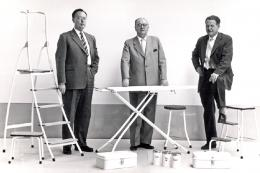 Brabantia's founding fathers with a range of homewares, circa 1950