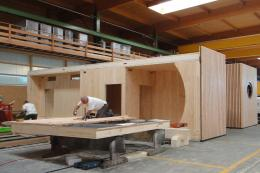 Small buildings such as lodges for holiday centres are built in the workshop and delivered ready assembled