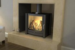 British brand Firebelly has a good range of fires made in the UK. FB2 model 12kW, 80% efficiency, £1,640. firebellystoves.com