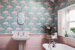 Sanderson's Flamingo non-woven wallpaper comes in several colourways. £57 a roll