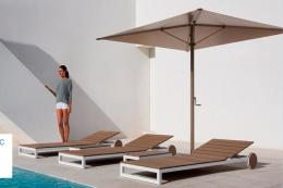 Spanish modern outdoor furniture company Gandía Blasco's recent Atlantic collection has an anodized or thermo-lacquered aluminium frame and surface slats made from Nowood, a recyclable material that resembles wood produced from natural and plastic fibres.