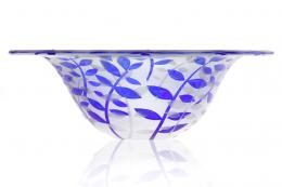 Exquisite Sprig glass bowl with sandblasted design on the inside and outside by Rosie Sutcliffe. www.rosiesutcliffeglassware.com