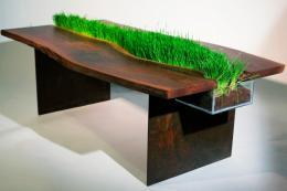 A wooden table with a fissure for growing grass. By Emily Wettstein, around $2,500