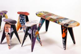 Furniture made from recycled skateboards by Deck Stool (US)