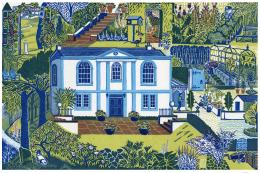 Linocut print by Clare Melinsky, an artist who's based in Thornhill