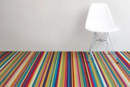 Technicolour stripe floor by Liverpool based Murafloor, which turns your images and artwork into vinyl flooring