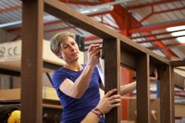 Nathalie working on the shed in the Benchmark Furniture workshops. The shed was built in 5 days