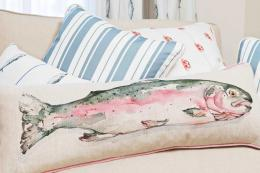 For the angler in your life, Nicole Phillips England linen Trout cushion, £45. www.nicolephillips.co.uk