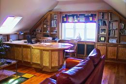 Smart burr elm office with built in desk and storage