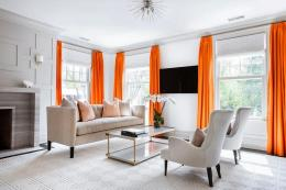 Curtains can be a way of bringing colour into a neutrally themed room. Choose linen or a wool/linen mix for your fabric, if you want to be eco!