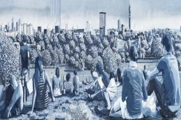 You'll may recognise the view from Primrose Hill if you're a Londoner.. First Sun, denim on denim, 200x60cms