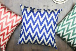 Chevon silk/cotton ikat floor cushions, made in Uzbekistan, 24x24in, £52